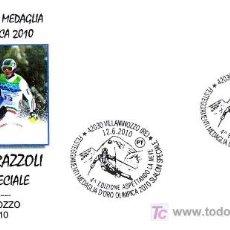 Sellos: MATASELLOS OLIMPIADA 2010 - MEDALLA ORO SLALOM ESPECIAL GIUGLIANO RAZZOLI. VILLAMINOZZO, ITALIA,2010. Lote 20828649