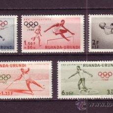 Sellos: RUANDA URUNDI 219/23*** - AÑO 1960 - JUEGOS OLIMPICOS DE ROMA - FÚTBOL - ATLETISMO. Lote 25011762