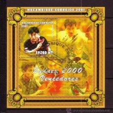 Sellos: MOZAMBIQUE HB 50 - AÑO 2001 - VENCEDORES DE LOS JUEGOS OLIMPICOS DE SYDNEY - TENIS DE MESA. Lote 288221513