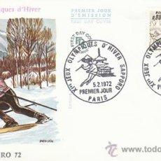 Sellos: FRANCIA, JUEGOS OLIMPICOS DE INVIERNO EN SAPPORO, PRIMER DIA DE 5-2-1972. Lote 26220536