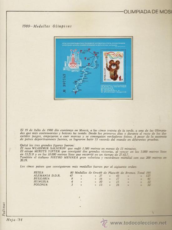 Sellos: urss/ rusia - juego completo de sellos moscu 80 - pais organizador - con hojas - ver fotos - 1974/80 - Foto 6 - 27514818