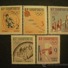 Sellos: ALBANIA 1963 IVERT 626/30 *** JUEGOS OLIMPICOS DE TOKIO (II) - DEPORTES. Lote 28092233