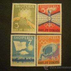 Sellos: ALBANIA 1964 IVERT 685/8 *** JUEGOS OLIMPICOS DE TOKIO (III) - DEPORTES. Lote 28093790