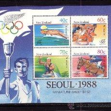 Sellos: NUEVA ZELANDA HB 63*** - AÑO 1988 - JUEGOS OLIMPICOS DE SEUL . Lote 30328238