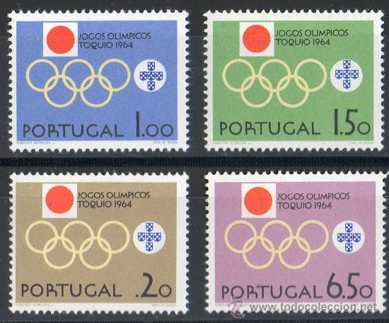 PORTUGAL AÑO 1964 YV 949/52*** JUEGOS OLÍMPICOS DE TOKIO - DEPORTES - BANDERAS (Sellos - Temáticas - Olimpiadas)