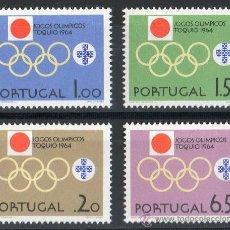 Sellos: PORTUGAL AÑO 1964 YV 949/52*** JUEGOS OLÍMPICOS DE TOKIO - DEPORTES - BANDERAS. Lote 31281556