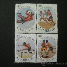 Sellos: ZAMBIA 1984 IVERT 302/5 *** JUEGOS OLIMPICOS DE LOS ANGELES - DEPORTES. Lote 33408676