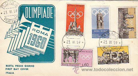 ITALIA, JUEGOS OLIMPICOS DE ROMA 1960, PRIMER DIA DE 23-6-1959 (Sellos - Temáticas - Olimpiadas)
