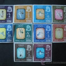 Sellos: DUBAI 1964 IVERT 43/52 *** JUEGOS OLIMPICOS DE TOKYO - DEPORTES - GIMNASIA. Lote 35333402