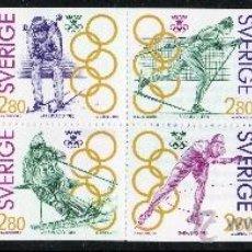 Sellos: SUECIA AÑO 1992 YV 1682/85*** CARNET - MEDALLISTAS SUECOS DE LOS JUEGOS OLÍMPICOS - DEPORTES - ESQUÍ. Lote 35483125
