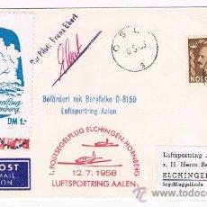 Sellos: 1958. NORUEGA A ALEMANIA. SOBRE CON VIÑETAS DEL CORREO AEREO Y FIRMA DEL PILOTO. Lote 35667086