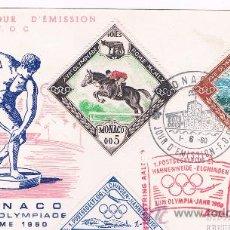 Sellos: 1960. MONACO. SOBRE CON SELLO DE MONACO Y VIÑETA OLIMPIADA DE ROMA. Lote 35684657