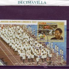 Sellos: DEPORTES, CUBA, OLIMPIADAS LONDRES, L202, 2012, HOJA-BLOQUE USADA. Lote 36199562
