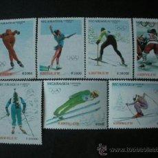 Sellos: NICARAGUA 1990 IVERT 1537/43 *** JUEGOS OLIMPICOS DE INVIERNO EN ALBERBILLE - DEPORTES. Lote 36544327