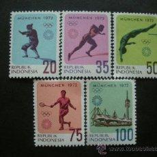 Sellos: INDONESIA 1972 IVERT 635/9 *** JUEGOS OLIMPICOS DE MUNICH - DEPORTES. Lote 36720580