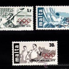 Sellos: MALTA 524/26** - AÑO 1976 - JUEGOS OLIMPICOS DE MONTREAL - WATERPOLO - VELA - ATLETISMO. Lote 268170699