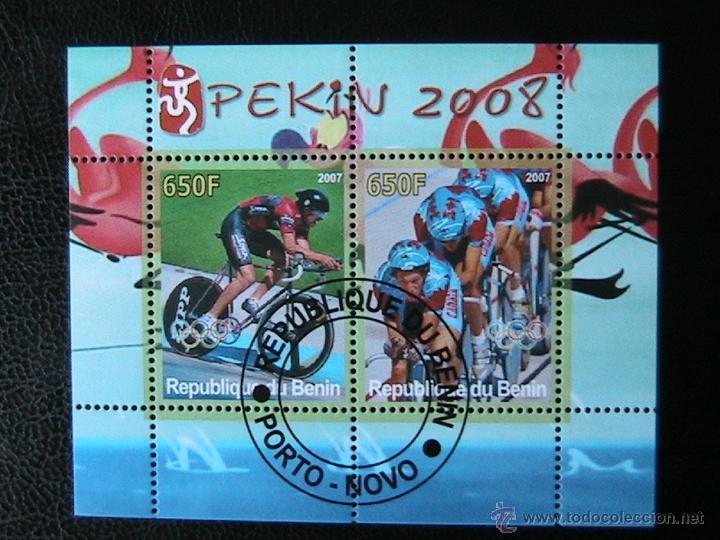 BENIN 2007 HOJA BLOQUE DE SELLOS - CICLISMO - OLIMPIADAS PEKIN 2008 - JUEGOS OLIMPICOS (Sellos - Temáticas - Olimpiadas)