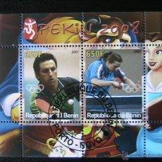 Sellos: BENIN 2007 HOJA BLOQUE DE SELLOS - TENIS DE MESA - OLIMPIADAS PEKIN 2008 - JUEGOS OLIMPICOS. Lote 39746324