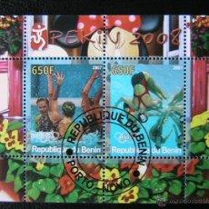 Sellos: BENIN 2007 HOJA BLOQUE DE SELLOS - WATERPOLO - OLIMPIADAS PEKIN 2008 - JUEGOS OLIMPICOS. Lote 39746497