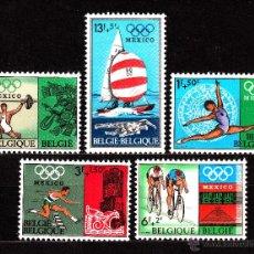 Sellos: BELGICA 1456/60** - AÑO 1968 - JUEGOS OLIMPICOS DE MEXICO. Lote 118214095