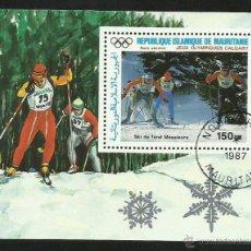 Sellos: MAURITANIA 1987 HOJA BLOQUE JUEGOS OLIMPICOS CALGARY 88 - OLIMPIADAS. Lote 41755113