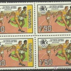 Sellos - TANZANIA 1984 BLOQUE DE SELLOS OLIMPIADAS LOS ANGELES 84 - JUEGOS OLIMPICOS - ATLETISMO - 41874219