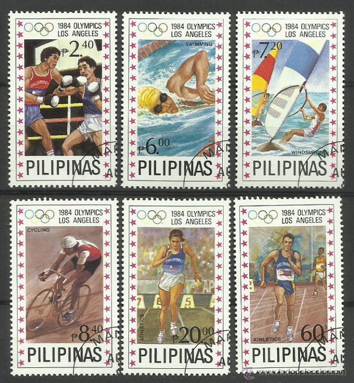 FILIPINAS 1984 SELLOS OLIMPIADAS LOS ANGELES 84 - JUEGOS OLIMPICOS- BOXEO- NATACION- WINDSURF (Sellos - Temáticas - Olimpiadas)