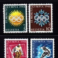 Sellos: SUIZA 449/52** - AÑO 1948 - JUEGOS OLIMPICOS DE INVIERNO DE SAINT MORITZ. Lote 268169444