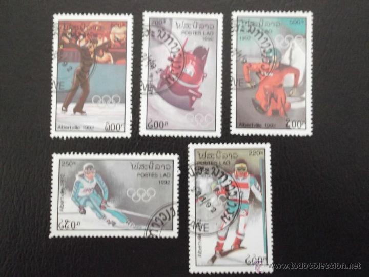 LAOS. 1022/26 JJ. OO. ALBERTVILLE: BOBS, SLALOM, DESCENSO, TRINEO Y PATINAJE ARTÍSTICO. 1992. SELLO (Sellos - Temáticas - Olimpiadas)