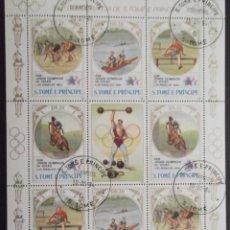 Timbres: SANTO TOMÁS Y PRÍNCIPE. 779/82 JJ. PP. LOS ANGELES EN MH DE 2 SERIES + VIÑETA CENTRAL. CICLISMO, REM. Lote 44357274