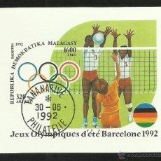 Sellos: MALAGASY 1994 HOJA BLOQUE OLIMPIADAS BARCELONA 92- VOLLEY- JUEGOS OLIMPICOS. Lote 44768608