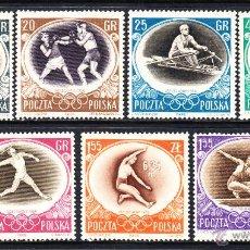 Sellos: POLONIA 871/77** - AÑO 1956 - JUEGOS OLÍMPICOS DE MELBOURNE. Lote 118229750