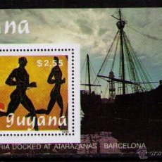 Sellos: GUYANA 1989 - JJOO DE BARCELONA 92 - NAO SANTA MARIA - COLON - HOJITA BLOQUE NUEVA. Lote 47878779