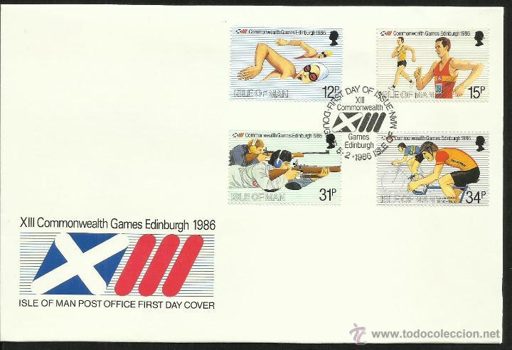 ISLA DE MAN 1986 SOBRE PRIMER DIA DE CIRCULACION JUEGOS OLIMPICOS EDIMBURGO 86- CICLISMO- NATACION (Sellos - Temáticas - Olimpiadas)