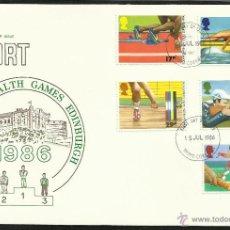 Sellos: GRAN BRETAÑA 1986 SOBRE PRIMER DIA DE CIRCULACION JUEGOS OLIMPICOS EDIMBURGO 86- TIRO- REMO- HOCKEY. Lote 48154921