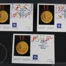 Selos: 3 TARJETAS POSTALES EMISIÓN SELLOS OLÍMPICOS ORO, BARCELONA 92, AÑO 1994 - MATASELLOS CONMEMORATIVO. Lote 48492774