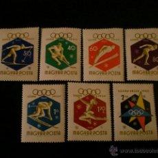 Sellos: HUNGRIA 1960 IVERT 1353/9 *** JUEGOS OLIMPICOS DE INVIERNO - SQUAW VALLEY - DEPORTES. Lote 49257223