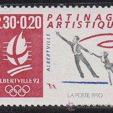 Sellos: FRANCIA IVERT Nº 2633, JUEGOS OLIMPICOS DE ALBERVILLE 1992, PATINAJE ARTISTICO, NUEVO ***. Lote 195092856