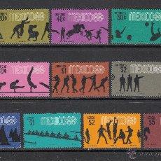 Sellos: MEXICO 743/48 Y AEREO 287/90** - AÑO 1967 - JUEGOS OLIMPICOS DE MEXICO. Lote 53511304
