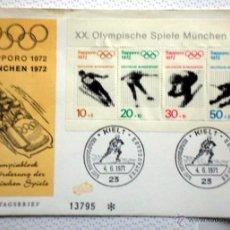 Sellos: ALEMANIA 1972 SOBRE PRIMER DIA CIRCULACION- OLIMPIADAS MUNICH 72- JUEGOS OLIMPICOS SAPPORO 72- FDC. Lote 54211012