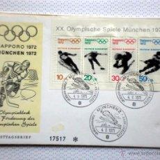 Sellos: ALEMANIA 1972 SOBRE PRIMER DIA CIRCULACION- OLIMPIADAS MUNICH 72- JUEGOS OLIMPICOS SAPPORO 72- FDC. Lote 54211016