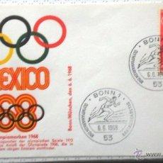 Sellos: ALEMANIA 1968 SOBRE PRIMER DIA CIRCULACION- JUEGOS OLIMPICOS MEXICO 68- OLIMPIADAS- FDC. Lote 54211096