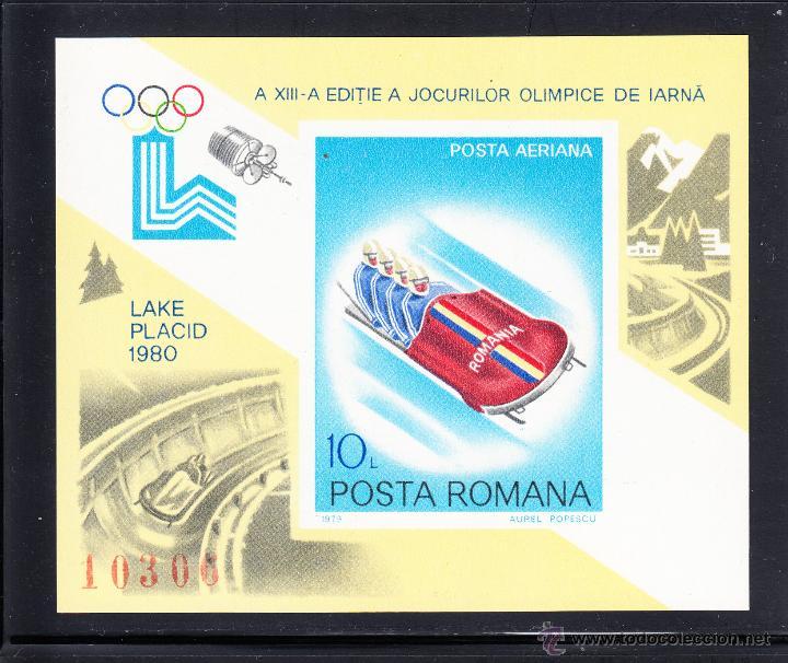 RUMANÍA HB 140A** - AÑO 1979 - JUEGOS OLÍMPICOS DE INVIERNO DE LAKE PLACID (Sellos - Temáticas - Olimpiadas)
