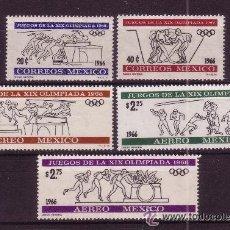 Sellos: MEXICO 1966 IVERT 727/8 Y AEREO 270/72 *** JUEGOS OLÍMPICOS DE MEXICO - DEPORTES. Lote 55025441