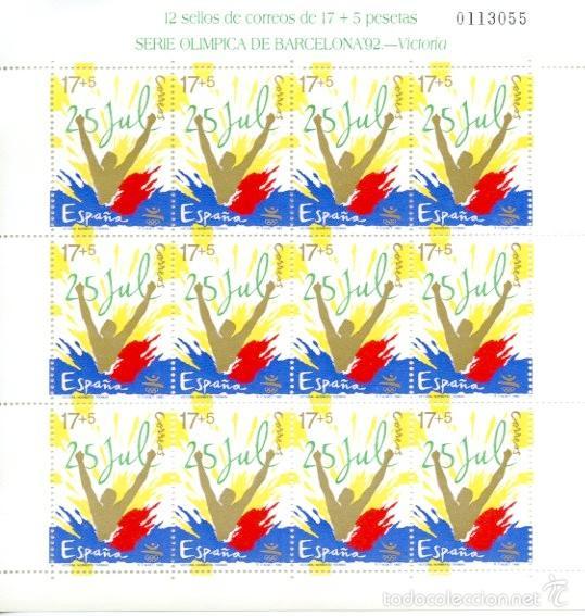 Sellos: Minipliegos 12 sellos Olimpiada Barcelona 1992. Hojas completas 3 valores. Juegos olímpicos. - Foto 2 - 55801960