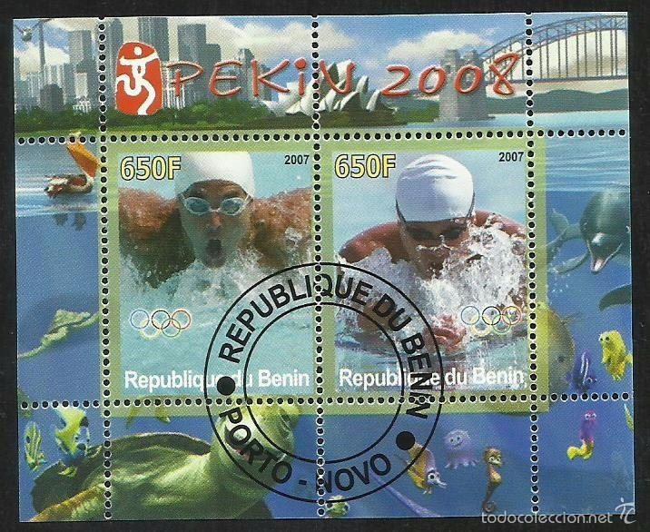 BENIN 2007 HOJA BLOQUE DE SELLOS - NATACION - OLIMPIADAS PEKIN 2008 - JUEGOS OLIMPICOS (Sellos - Temáticas - Olimpiadas)