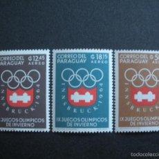 Sellos: PARAGUAY 1963 AEREO IVERT 370/2 *** 9º JUEGOS OLIMPICOS DE INVIERNO EN INSBRUCK - DEPORTES. Lote 56483998