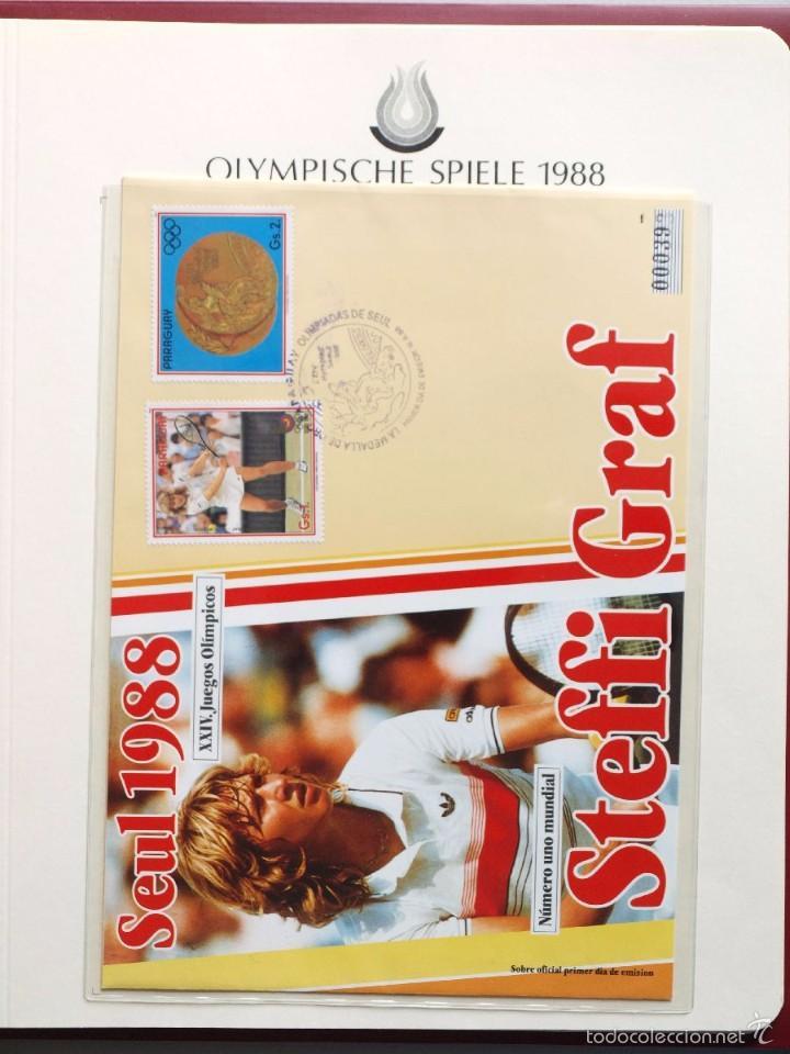 PARAGUAY 1988 SOBRE PRIMER DIA CIRCULACION OLIMPIADAS SEUL 88- TENIS- STEFFI GRAF MEDALLA DE ORO (Sellos - Temáticas - Olimpiadas)