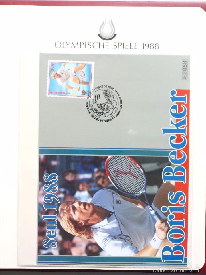 PARAGUAY 1988 SOBRE PRIMER DIA CIRCULACION OLIMPIADAS SEUL 88- TENIS- BORIS BECKER MEDALLA DE ORO (Sellos - Temáticas - Olimpiadas)