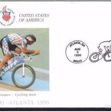Sellos: USA 1996 SOBRE PRIMER DIA CIRCULACION OLIMPIADAS- JUEGOS OLIMPICOS- ATLANTA 96- CICLISMO- FDC . Lote 57398504